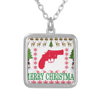 GUN MERRY CHRISTMAS . SILVER PLATED NECKLACE