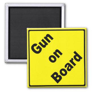Gun on Board Square Magnet