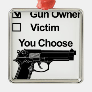 gun owner victim you choose Silver-Colored square decoration