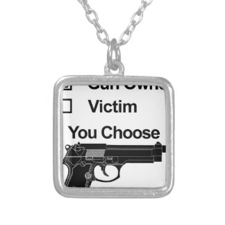 gun owner victim you choose silver plated necklace