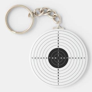 gun shooting range bulls eye target symbol basic round button key ring
