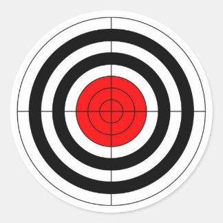 gun shooting range bulls eye target symbol classic round sticker