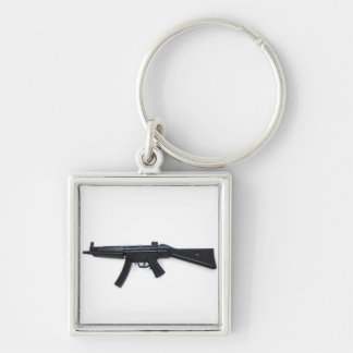 Gun Silver-Colored Square Key Ring