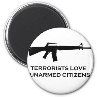 gun terror 6 cm round magnet