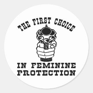 Gun, The 1st Choice In Feminine Protection Classic Round Sticker