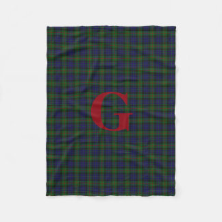 Gunn Clan Tartan Plaid Monogram Fleece Blanket
