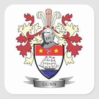 Gunn Family Crest Coat of Arms Square Sticker