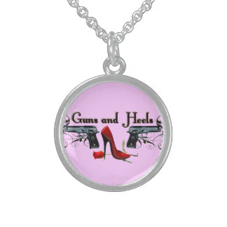Guns and Heels Sterling Silver Necklace