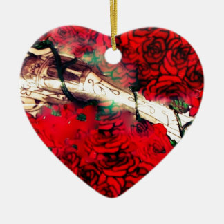 Guns and roses ceramic heart decoration