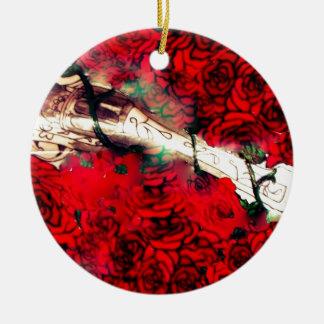 Guns and roses ceramic ornament