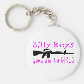 GUNS ARE FOR GIRLS BASIC ROUND BUTTON KEY RING