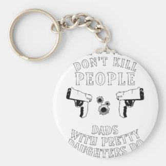 Guns Don't Kill People... Basic Round Button Key Ring