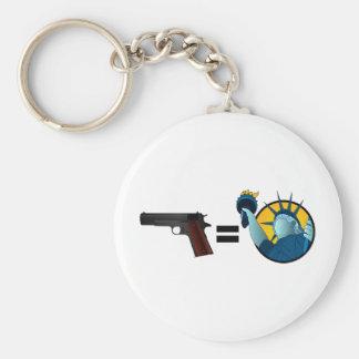 Guns Equal Liberty Basic Round Button Key Ring