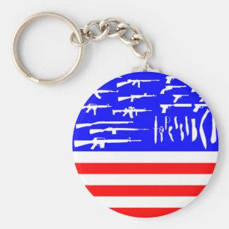 Guns Flag Basic Round Button Key Ring