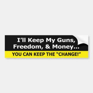 Guns, Freedom, and Money Zazzle Bumper Sticker Siz