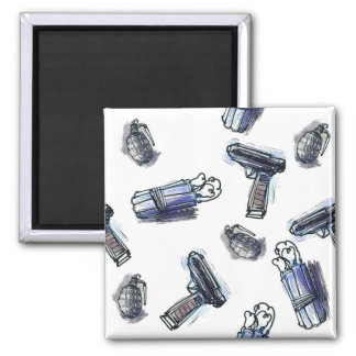 guns grenades and dynamites tiled pattern cartoon magnet