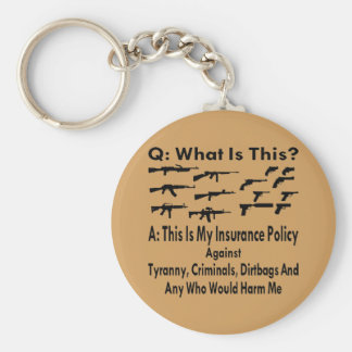 Guns My Insurance Policy For Tyranny & Criminals Basic Round Button Key Ring