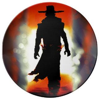 gunslinger cowboy in desert porcelain plate