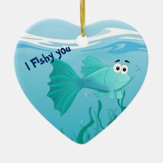 Guppy fish illustration ceramic heart decoration