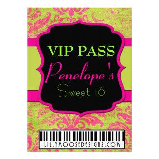 Gurnge Damask VIP Pass Sweet 16 Invitation