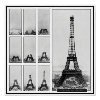 Gustav Eiffel's Tower Under Construction in Paris