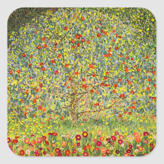 Gustav Klimt Apple Tree Square Sticker