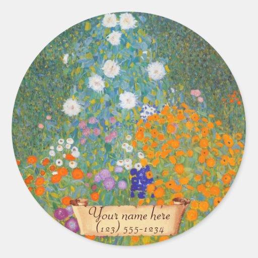 """Gustav Klimt """"Bauerngarten"""" Bookplate Round Sticker"""