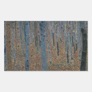 Gustav Klimt - Beech Grove. Trees Nature Wildlife Rectangular Sticker