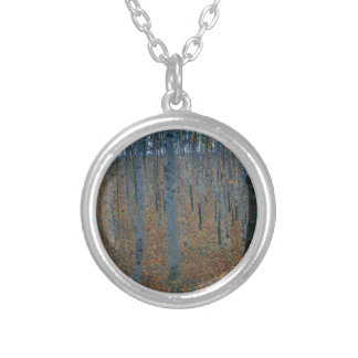 Gustav Klimt - Beech Grove. Trees Nature Wildlife Silver Plated Necklace