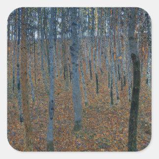Gustav Klimt - Beech Grove. Trees Nature Wildlife Square Sticker