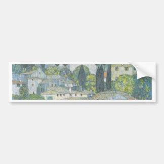Gustav Klimt - Church in Cassone Art work Bumper Sticker