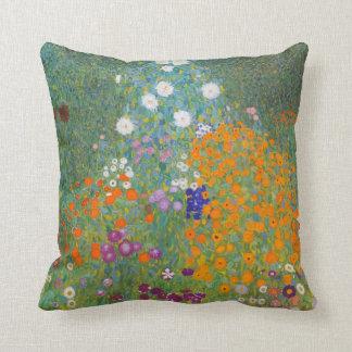 Gustav Klimt Cottage Garden Vintage Throw Pillow