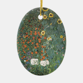 Gustav Klimt - Country Garden Sunflowers Flowers Ceramic Ornament