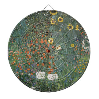 Gustav Klimt - Country Garden Sunflowers Flowers Dartboard