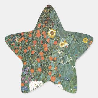 Gustav Klimt - Country Garden Sunflowers Flowers Star Sticker