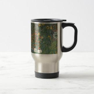 Gustav Klimt - Country Garden Sunflowers Flowers Travel Mug