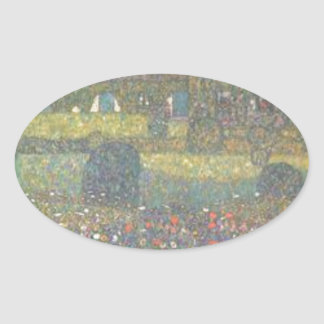 Gustav Klimt - Country House by the Attersee Art Oval Sticker