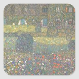 Gustav Klimt - Country House by the Attersee Art Square Sticker
