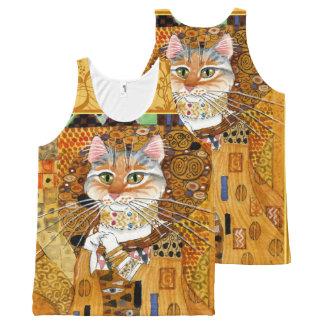 Gustav Klimt cute Cat in Gold spoof tank