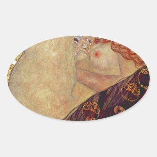 "Gustav Klimt, ""Danae"" Oval Sticker"