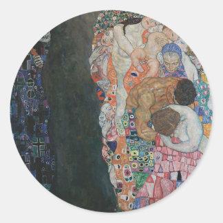 Gustav Klimt - Death and Life Art Work Classic Round Sticker