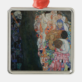 Gustav Klimt - Death and Life Art Work Metal Ornament