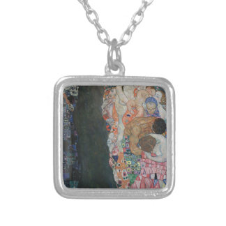 Gustav Klimt - Death and Life Art Work Silver Plated Necklace