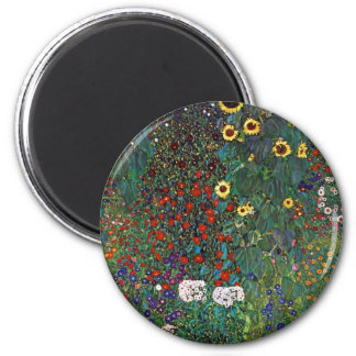 Gustav Klimt Farm Garden with Sunflowers 6 Cm Round Magnet