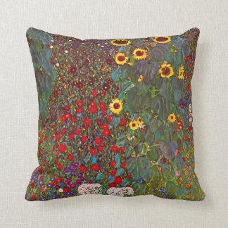 Gustav Klimt Farm Garden with Sunflowers Pillow Cushions