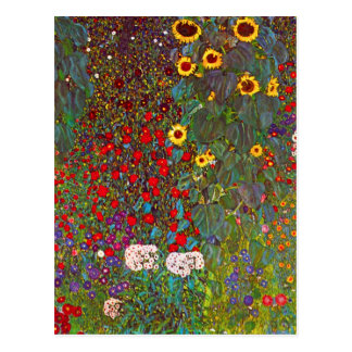 Gustav Klimt Farm Garden with Sunflowers Postcard