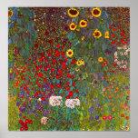 Gustav Klimt Farm Garden with Sunflowers Poster