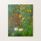 Gustav Klimt Farm Garden with Sunflowers Puzzle