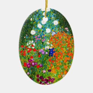 "Gustav Klimt, ""Farmhouse garden"" Ceramic Ornament"