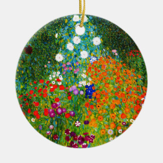 "Gustav Klimt, ""Farmhouse garden"" Ceramic Ornament"